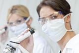 Female Scientific Research Team Using Microscopes in a Laborator