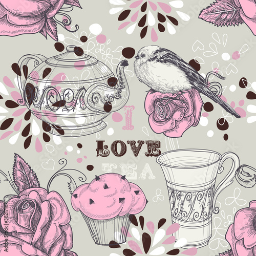 Poster Tea love seamless pattern