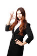 Perfect - business woman showing OK hand sign