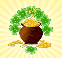 Vector illustration of a  St. Patrick day theme with pot of gold