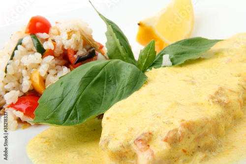 Scottish salmon steak in a creamy saffron sauce