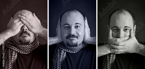 Blind/Deaf/Dumb Man portrait set on dark background.