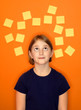 Young Girl Thinking and Sticky Notes