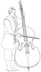 musician performs music for contrabass