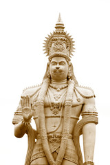 Hindu god Hanuman statue against white background