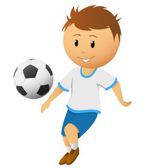 Cartoon footballer or soccer player play with ball