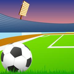 Soccer ball on green field of the stadium