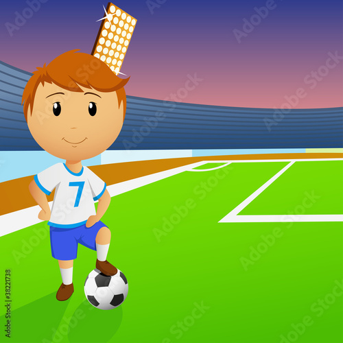 Soccer player with ball on green field of the stadium