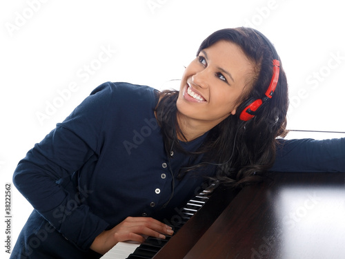 smiling teenage girl in the recording studio