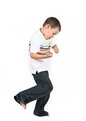 Little boy posing with smile dancing