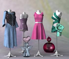 Schaufensterpuppen mit Kleidern