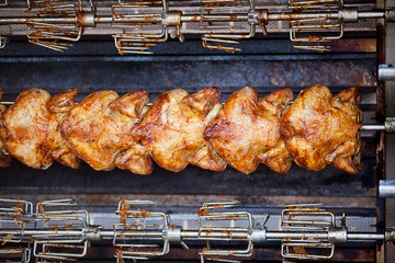 chicken grilled on a skewer background