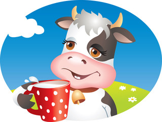 Funny cow drinking milk. Vector illustration
