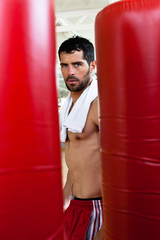 Handsome muscular man in between red punching bags.