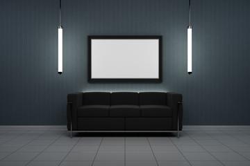 beleuchteter Bilderrahmen mit schwarzem Sofa