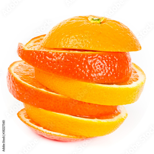 Foto Spatwand Plakjes fruit Orange