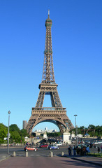 Street level image of Eiffel Tower in Paris, France