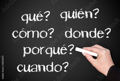 Blackboard with spanish questions