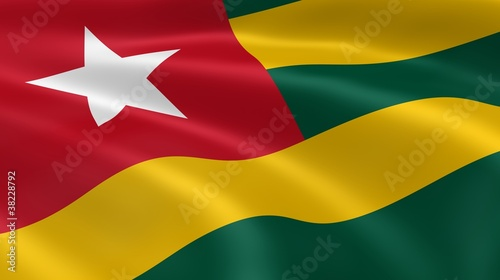 Togolese flag in the wind