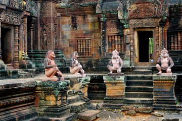 Banteay Srei temple at Angkor, near Siem Reap, Cambodia