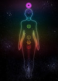 System of human chakras on space background