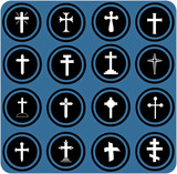 blue  signs. christian crosses icons.