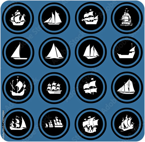 blue  signs. ship icons. Icon set Boats