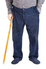 Half of old man walking with cane