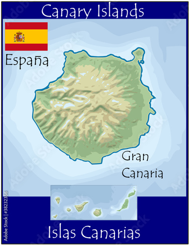 gran canaria canary island spain map flag emblem