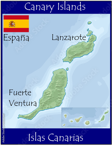 canary island spain lanzarote fuerte map flag emblem