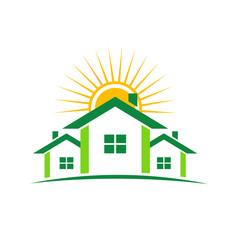 Houses and sun logo