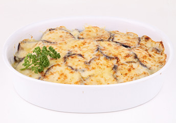 isolated plate of moussaka