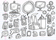 Doodle Electronics Work Business Design Vector Set