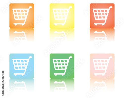 square shopping cart icons with reflection