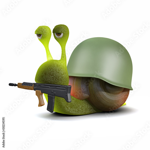 3d Snail goes into combat in uniform