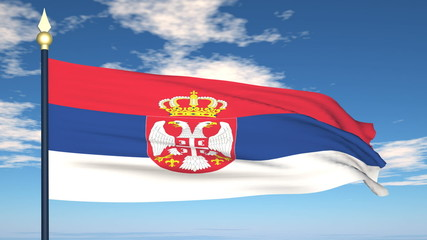 Flag Of Serbia on the background of the sky and flying clouds.