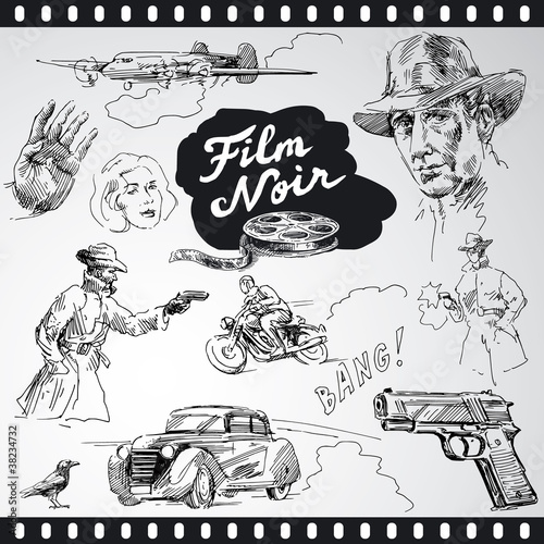 film noir - hand drawn collection
