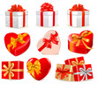 Set of vector gift boxes with bows and ribbons.