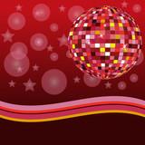 Discoball auf rotem Hintergrund poster