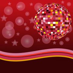 Discoball auf rotem Hintergrund