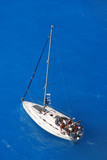 Luxury yacht against azure sea