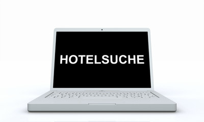 Laptop Text Konzept - Hotelsuche