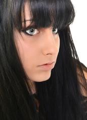young black hair woman beauty portrait , studio shot