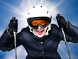 Young skiing woman enjoys winter sports outdoors