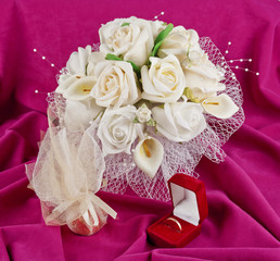 wedding bouquet and rings for Valentine's Day