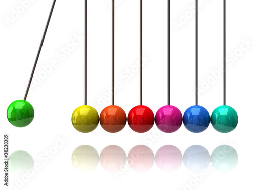 Colorful newton's cradle on white background