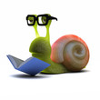 3d Snail bookworm reading a book
