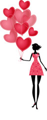 Isolated girl with a valentines balloon