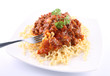 Fusilli bucati lunghi with bolognese sauce being eaten