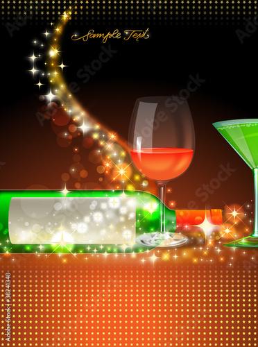 getränke karte - cocktail und flasche - wein